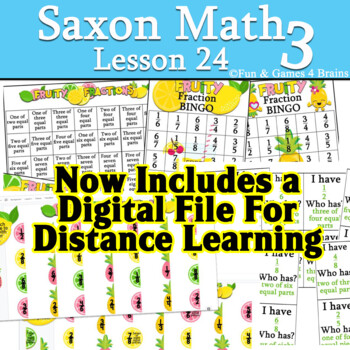Saxon 3 (3rd Grade) Lesson 24 Extension game - Fractions using fraction bar