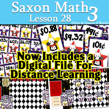 Saxon 3 (3rd Grade) Lesson 28 Extension Game - writing money amounts