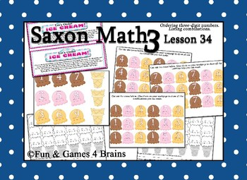 Saxon 3 (3rd Grade) Lesson 34 Extension Game - ordering 3-digit numbers