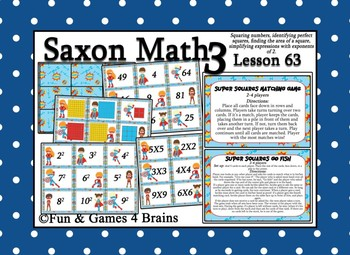 Saxon 3 (3rd Grade) Lesson 63 Extension Game - Exponents, Area, Perfect Squares