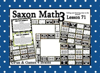 Saxon 3 (3rd Grade) Lesson 71 Extension Activity- Telling time to the minute