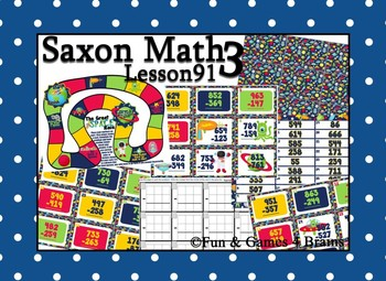 Saxon 3 (3rd Grade) Lesson 91 Extension Activity- 3 digit subtraction/borrowing
