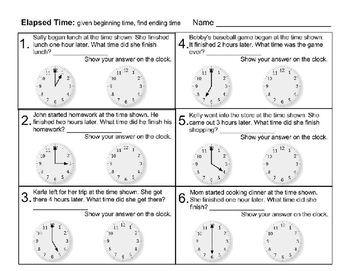 Saxon 3 (3rd grade) Lesson 1 Time to the Hour & Elapsed time extension bundle