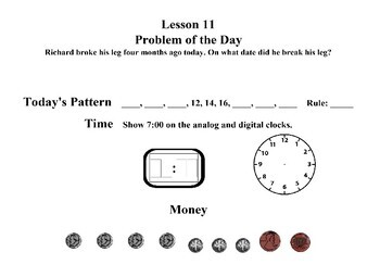 Saxon 3(3rdGrade)Lesson11-20 extension activities, morning papers& exit tickets