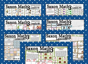Saxon 3(3rdGrade)Lesson81-90 extension activities, morning papers& exit tickets
