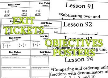 Saxon 3(3rdGrade)Lesson91-100 extension activities, morning papers& exit tickets