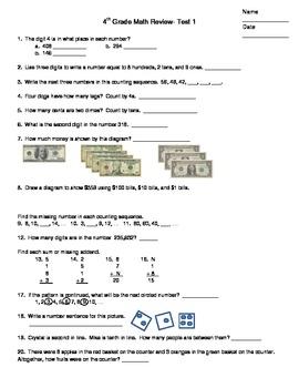 Saxon 5/4 Math Review- Cumulative Test 1