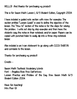 Saxon 6/5 Lesson 1 Guided Notes