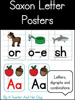 Saxon Alphabet Posters with Notebook Paper Background