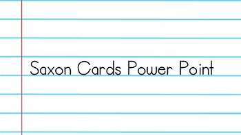 Saxon Cards Supplement PowerPoint