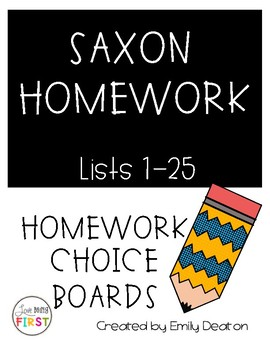 Saxon Choice Board Homework Level 1