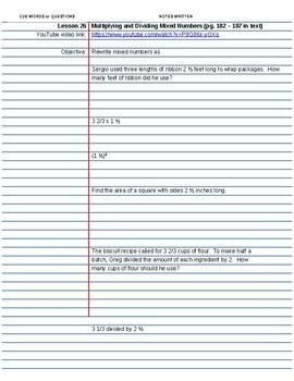 Saxon Course 2 Lesson 26 Video Notes