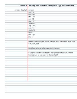 Saxon Course 2 Lesson 28 Video Notes