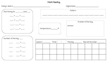Saxon Math 2 Meeting Worksheet