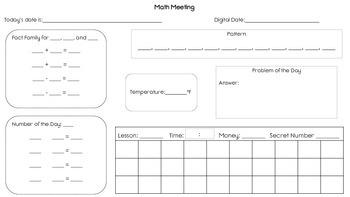 Saxon Math 2 Meeting Worksheet