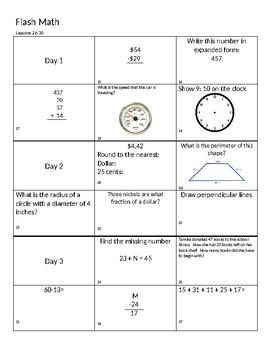 Saxon Math 4th Grade Flash Math- lessons 26-30