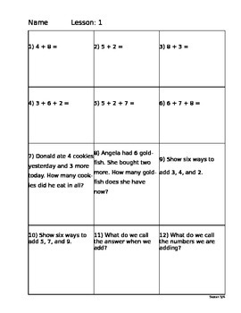 Saxon Math 5/4 Homework Paper Lesson 1