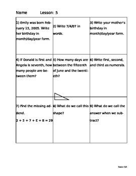 Saxon Math 5/4 Homework Paper Lesson 5