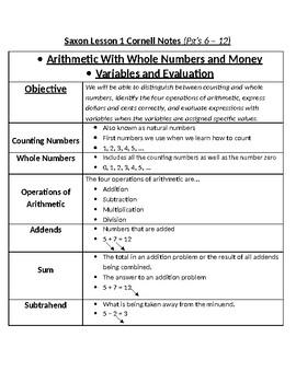 Saxon Math Course 2 Notes - Lesson 1 Teacher Copy