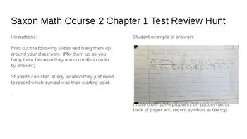 Saxon Math Course 2 Test 1 Scavenger Hunt by Rhonemus