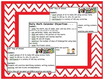 Saxon Math Daily Objective Posters