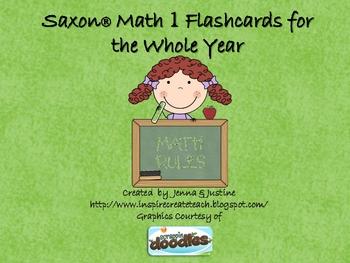 Saxon Math Flashcards - 1st Grade