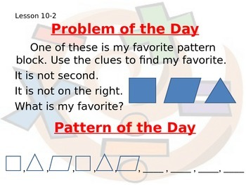 Saxon Math Grade 2 Pattern & Problem of the Day PowerPoint