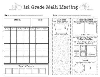 First Grade Saxon Math Meeting Worksheet