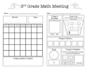 Third Grade Saxon Math Meeting Worksheet