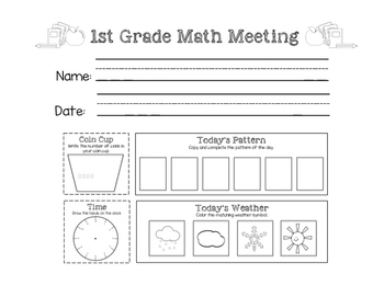 Saxon Math Meeting Worksheets - 3 Versions by Little Learning Lane