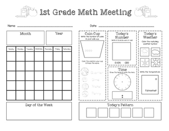 Saxon Math Meeting Worksheets - 3 Versions