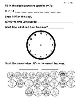 Saxon Math Morning Meeting Lessons 21 - 30-2