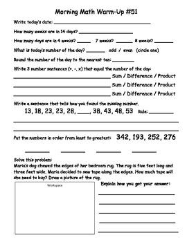 Saxon Math Morning Meeting Lessons 51 - 60-2