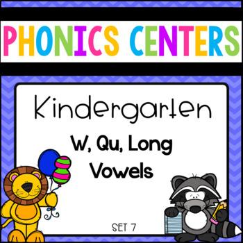 Saxon Phonic Aligned Centers Kindergarten Set 7 ( W,Qu, Long Vowels)