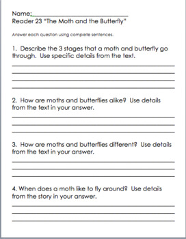 2nd Grade Saxon Phonics Decodable Readers 1-26 Written Comprehension Questions