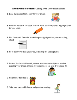Saxon Phonics Center: Coding with Decodable Reader