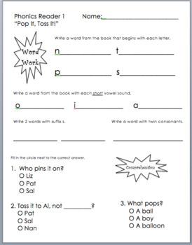 Saxon Phonics Decodable Reader 1 Word Work &  Multiple Choice Comprehension