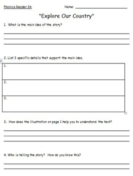 Saxon Phonics (First Grade) Decodable Readers Comprehension Question Worksheets