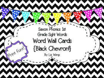 Saxon Phonics First Grade Sight Word Cards {Black Chevron