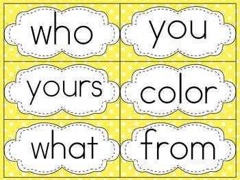Saxon Phonics First Grade Sight Word Cards {Yellow Polka-Dots and Print Font!}
