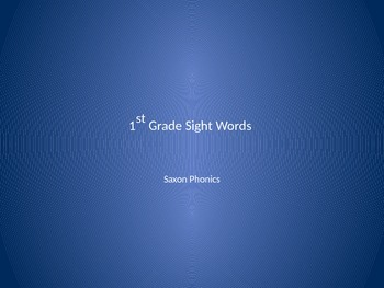 Saxon Phonics First Grade Sight Words