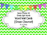 Saxon Phonics First Grade Sight Words Cards {Green Chevron and Print Font!}