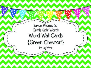 Saxon Phonics First Grade Sight Words Cards {Green Chevron and Print Font!}
