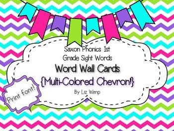 Saxon Phonics First Grade Sight Words Word Wall Cards {multi-colored chevron!}