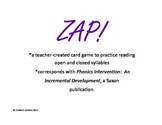 Phonics: Open and Closed Syllable ZAP!