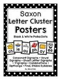 Saxon Phonics Letter Cluster Posters {black & white polka dots}