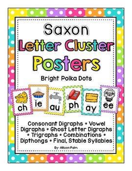 Saxon Phonics Letter Cluster Posters {bright polka dots}