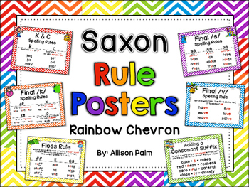 Saxon Phonics Rule Posters {rainbow chevron}