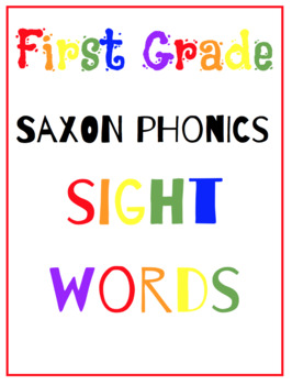 First Grade Saxon Phonics {Sight Word Flash Cards}