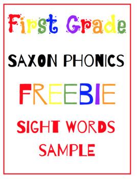 First Grade Saxon Phonics Sight Word Flash Cards(10)- {FREEBIE}!!